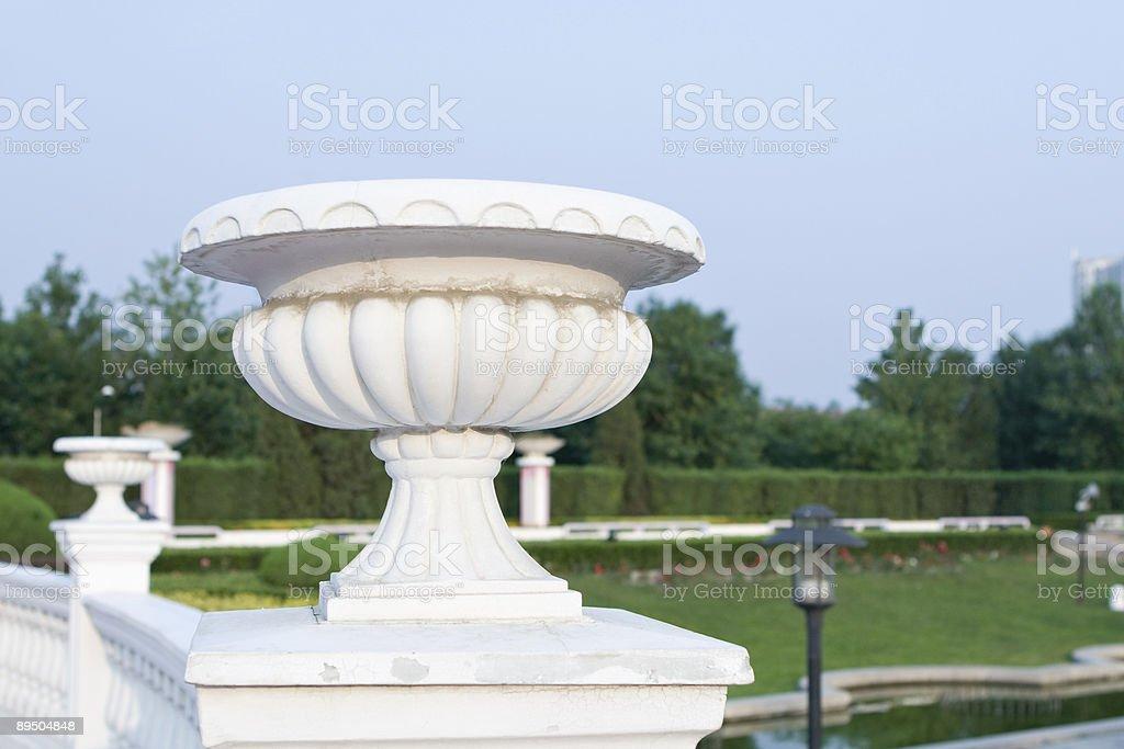 beijing: classic balustrade in a city garden royalty-free stock photo