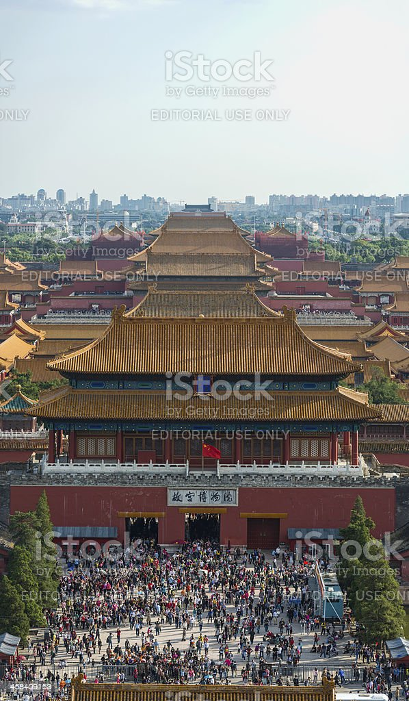 Beijing crowds tourists at Forbidden City during Golden Week China stock photo