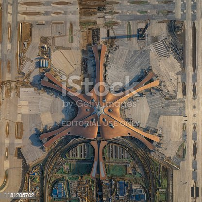 Beijing, China - on December 16, 2018:Beijing Daxing International Airport is a new airport construction project which will serve Beijing, China.It Set to open in late 2019, with eight runways serving 100 million passengers annually, Beijing's Daxing International will becoming the world's largest airport.