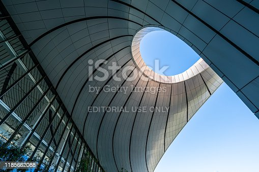 Beijing, China – November 1, 2019: Terminal Building, Daxing New International Airport, Beijing, China. It is a cross-regional and super-large international aviation integrated transportation hub.