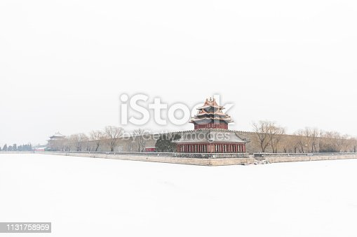Beijing Forbidden City corner tower in snow