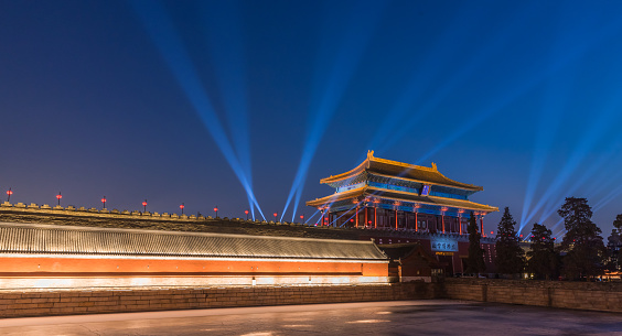 Beijing Forbidden City night light scene