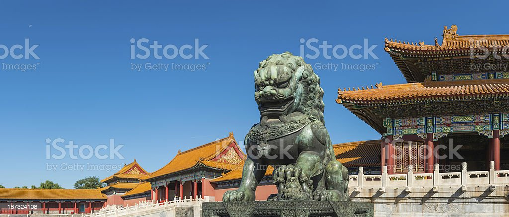 Beijing Forbidden City panorama Imperial Lion guarding temples China stock photo