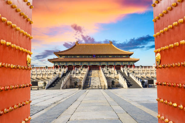 Beijing forbidden city scenery at sunset,China,Chinese symbols Beijing forbidden city scenery at sunset,China,Chinese cultural symbols forbidden city stock pictures, royalty-free photos & images