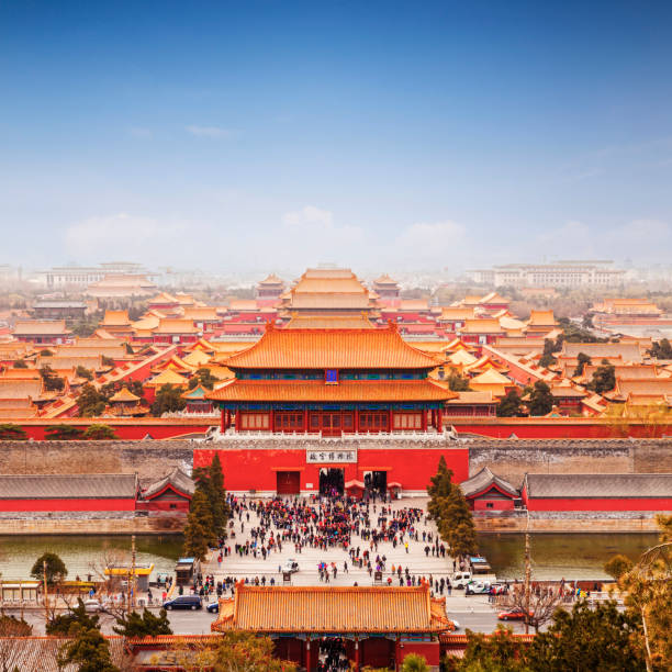 Beijing Forbidden City Skyline Square Aerial view of the Forbidden City, Beijing, China, square format. forbidden city stock pictures, royalty-free photos & images