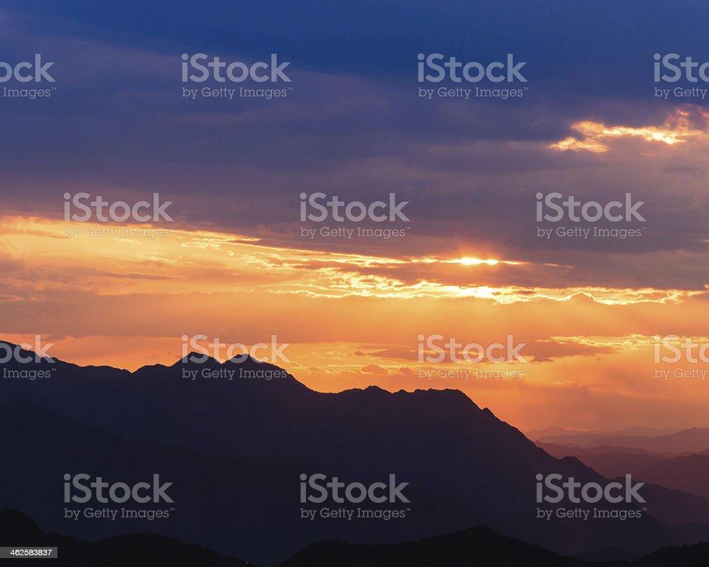 Beijing Jinshan mountain sunset royalty-free stock photo