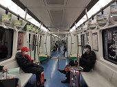 During the outbreak of the new coronavirus, Beijing subway passengers are rare and wearing masks.January 28, 2020, Beijing, China.