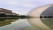 BeijingAChina -  August 8st, 2013:  The National Center for the performing arts, the National Grand Theater an egg shape, it is by the French architect Paul Andrew to