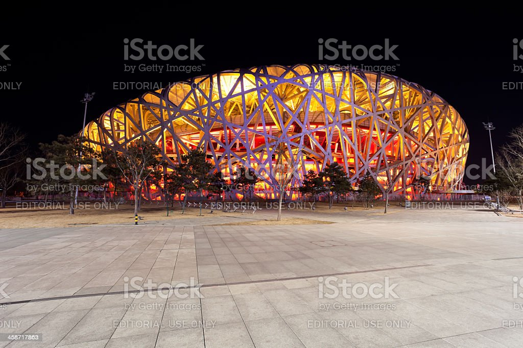 Beijing National Stadium by night  - The Bird's Nest royalty-free stock photo