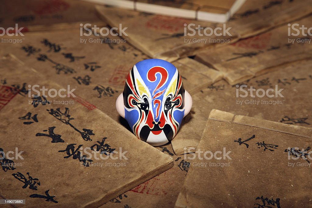 Beijing Opera mask on ancient books stock photo