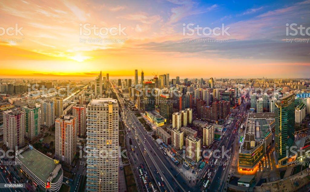 Beijing panorama at sunset stock photo