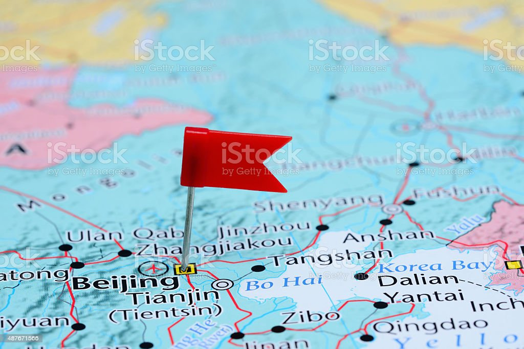 Beijing pinned on a map of Asia stock photo