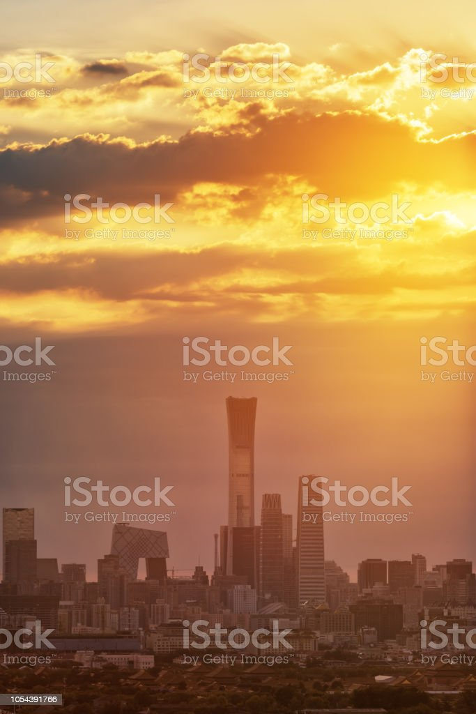 Beijing skyline and ancient Forbidden City in the sun stock photo