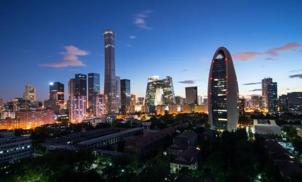夕暮れ時に北京のスカイライン - 北京 ストックフォトと画像