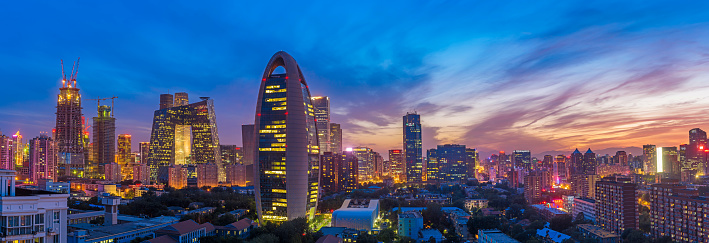Aerial View of Beijing skyline at sunset