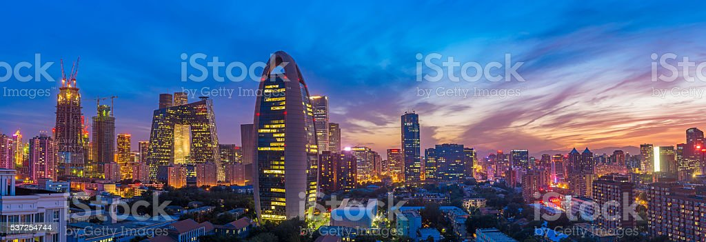 Beijing skyline at sunset stock photo