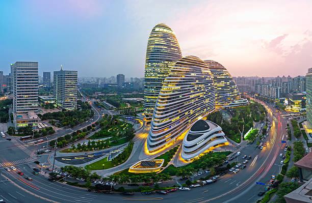 北京の夕暮れの街並み - 北京 ストックフォトと画像