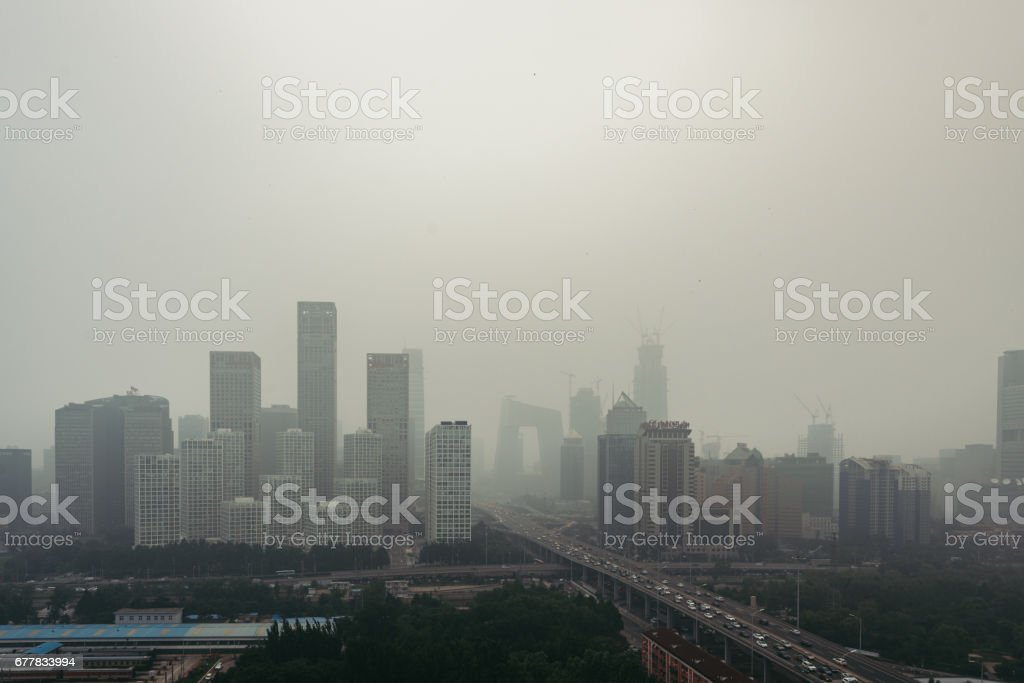 Beijing Smog and Air Pollution stock photo