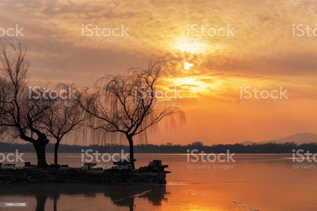 Beijing Summer Palace in the sunset stock photo