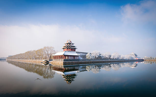 Beijing Winter Panorama Snow on the North-East corner tower outside the Forbidden City in central Beijing. forbidden city stock pictures, royalty-free photos & images