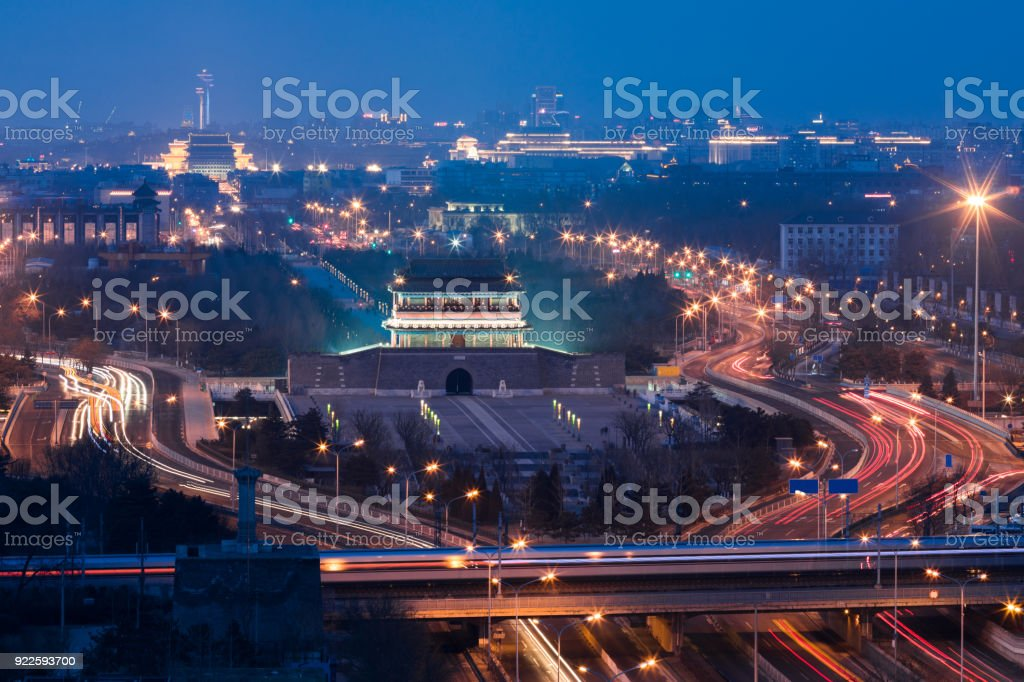 Beijing Yong ding Gate night scene stock photo
