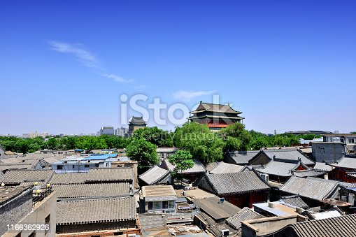 Beijing's old town and drum tower at sunny day, China.