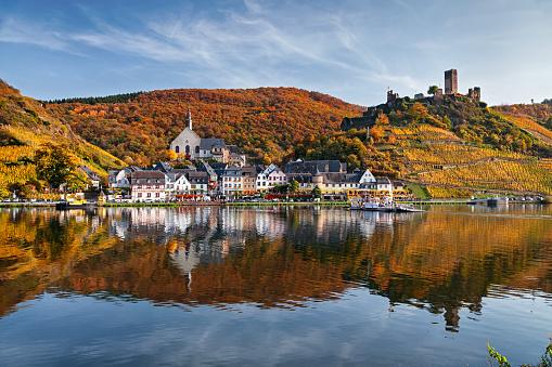 Beilstein resort town and Vineyards in Mosel wine valley at autumn