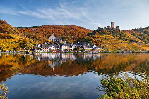 Beilstein resort town and Vineyards in Mosel wine valley at autumn