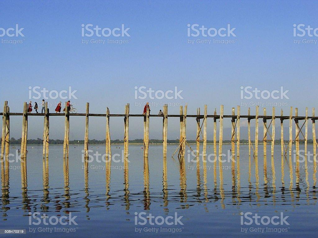 U Bein bridge, Amarapura, Myanmar stock photo