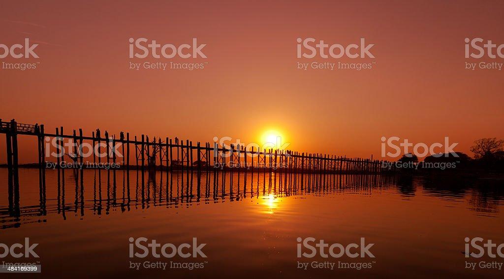 U Bein Bridge, Mandalay, Myanmar stock photo