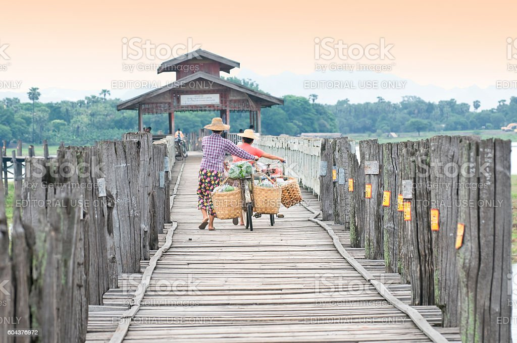 U Bein Bridge near Amarapura in Myanmar stock photo