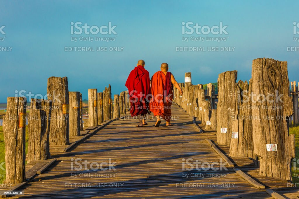 U Bein Bridge Taungthaman Lake Amarapura Myanmar Stock Photo