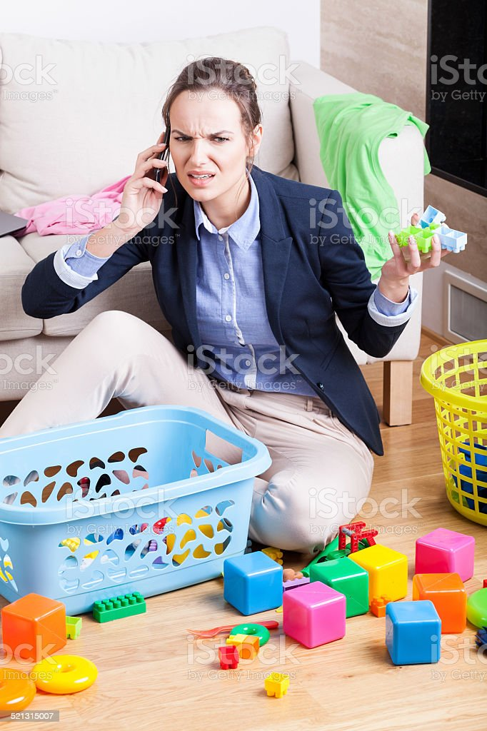 Being a businesswoman and mother stock photo