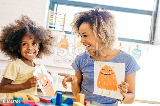 Laughing mother and child, Note to inspector: Property release for painted monsters are attached