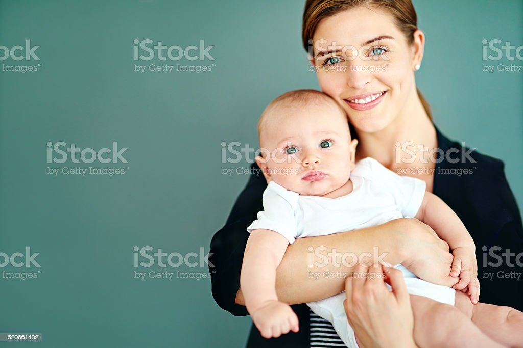 Being a mother and successful businesswoman is so rewarding stock photo