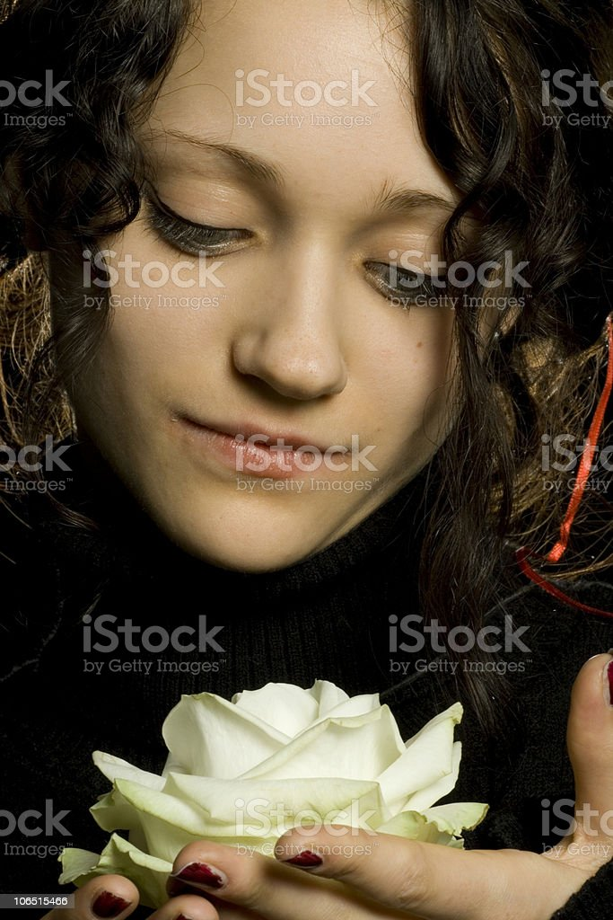 Being in love with a rose. royalty-free stock photo
