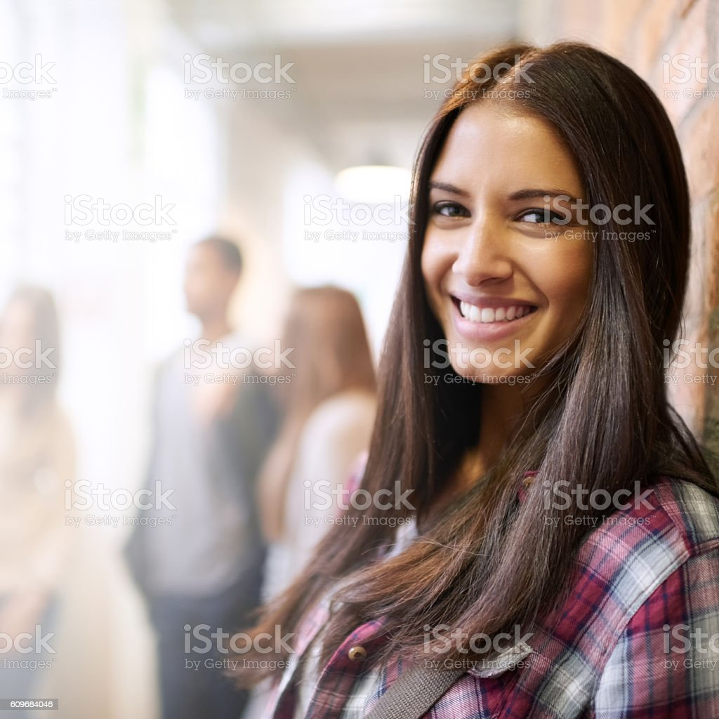Being on campus is such a pleasure stock photo