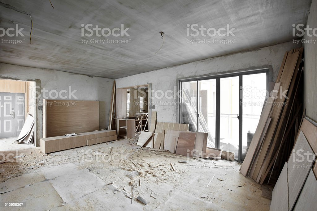 Being renovated house stock photo