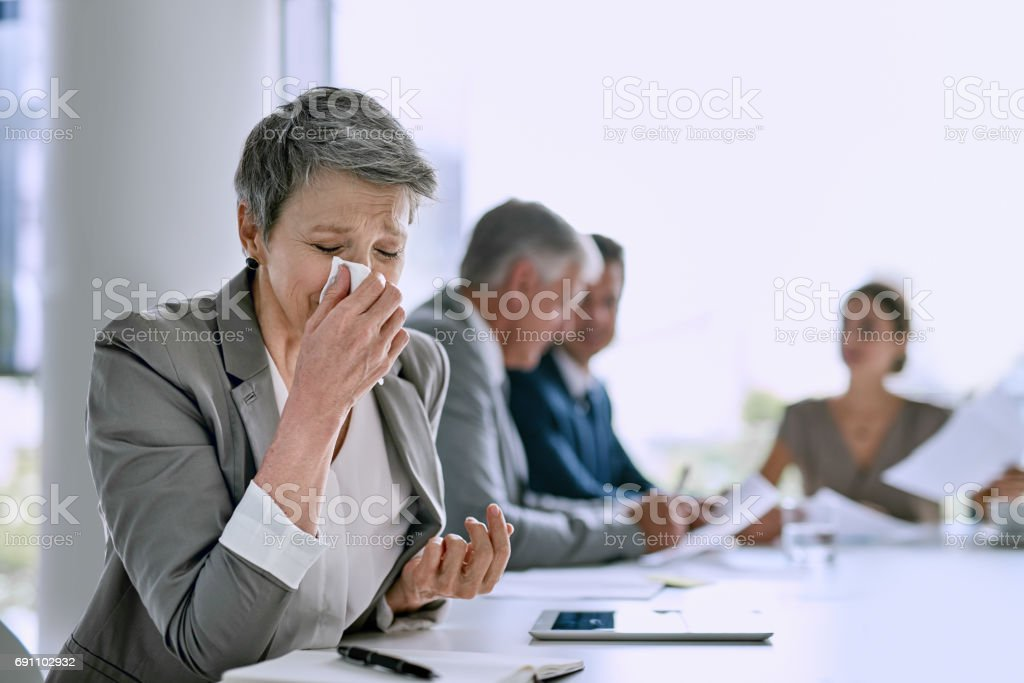 Being sick is keeping me out of the discussion stock photo