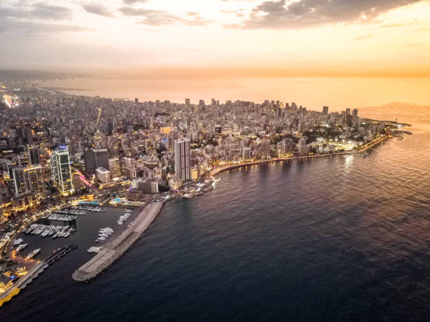 beirut aerial view in beautiful sunset - beirut foto e immagini stock