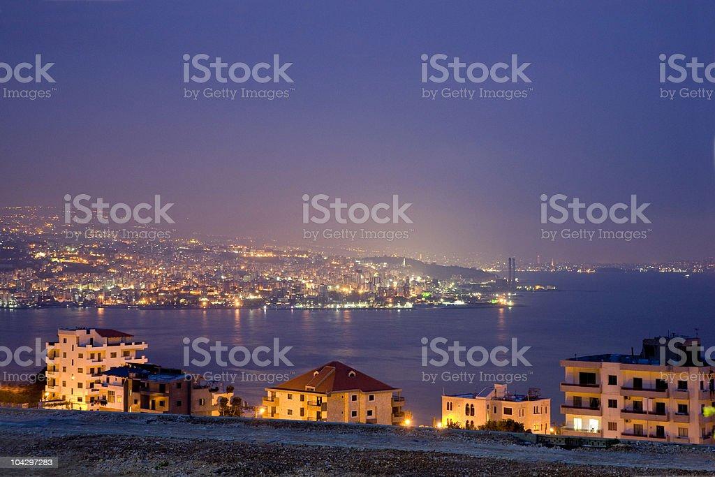 Beirut at night, Lebanon stock photo
