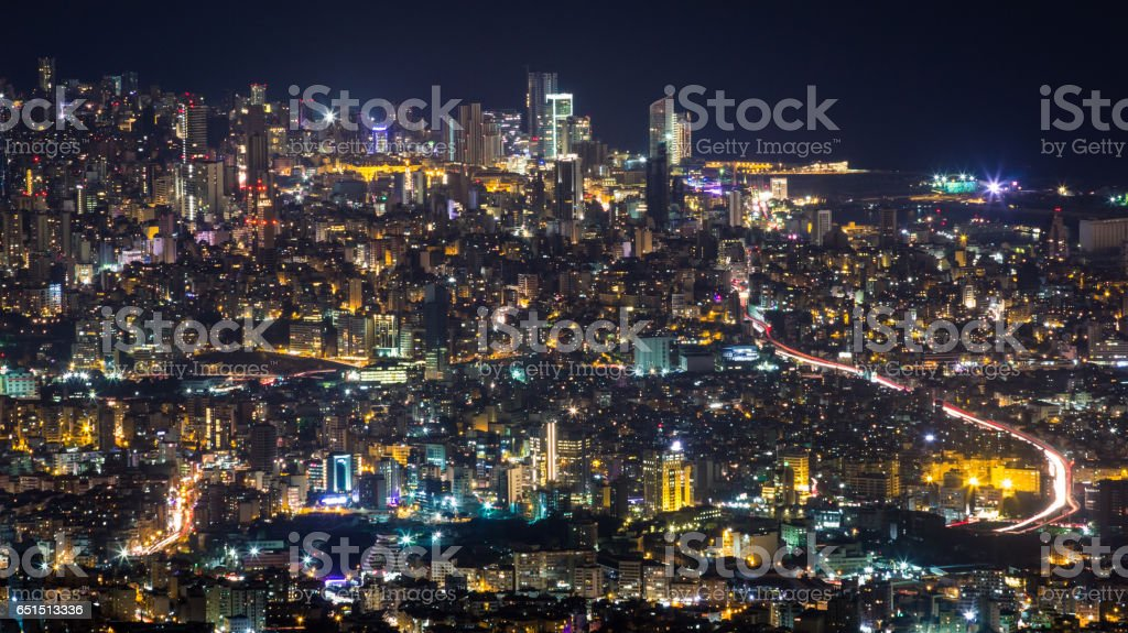 Beirut city aerial view by night – Foto