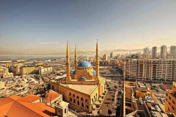 Beirut downtown cityscape & Mohammad al amin mosque Beirut downtown cityscape & Mohammad al amin mosque beirut stock pictures, royalty-free photos & images