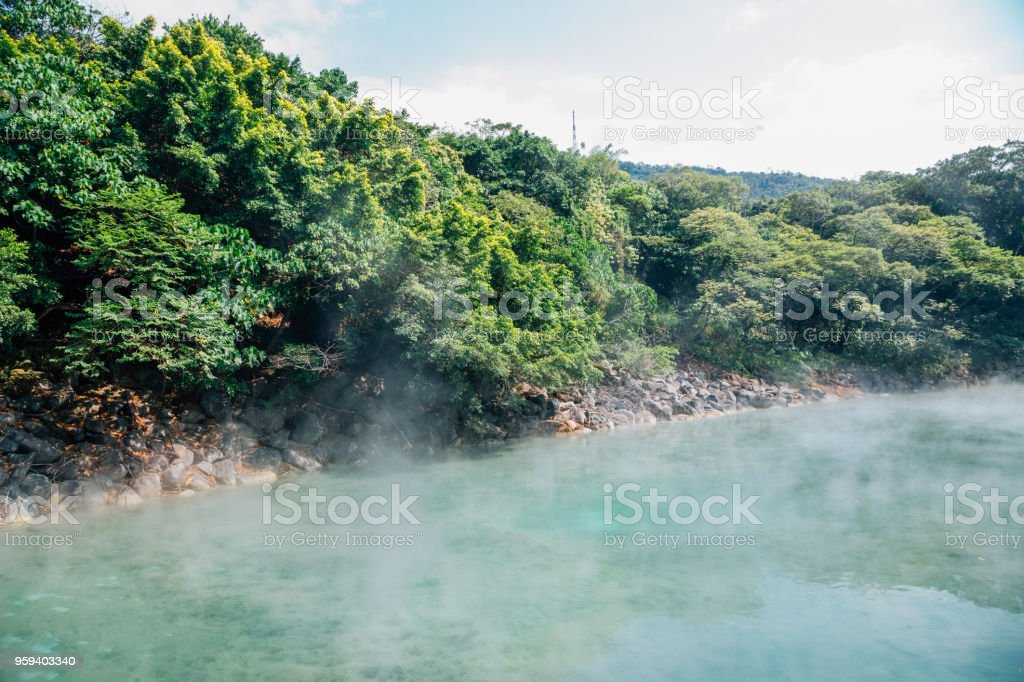 Beitou Thermal Valley hot steam in Taipei, Taiwan stock photo