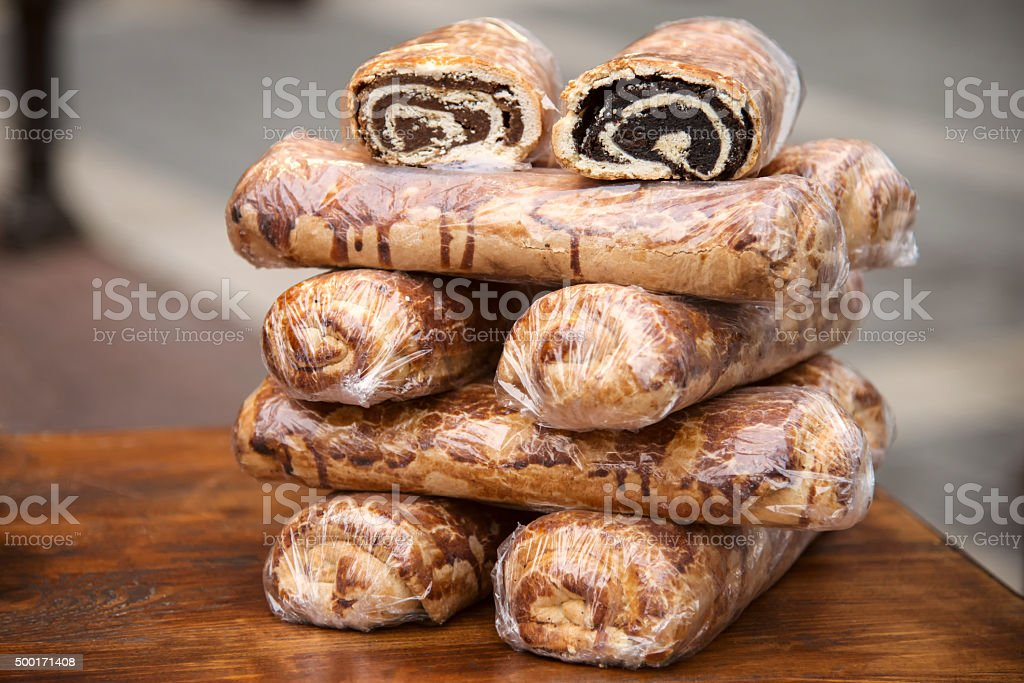 Bejgli - traditional hungarian christmas cake on christmas fair stock photo