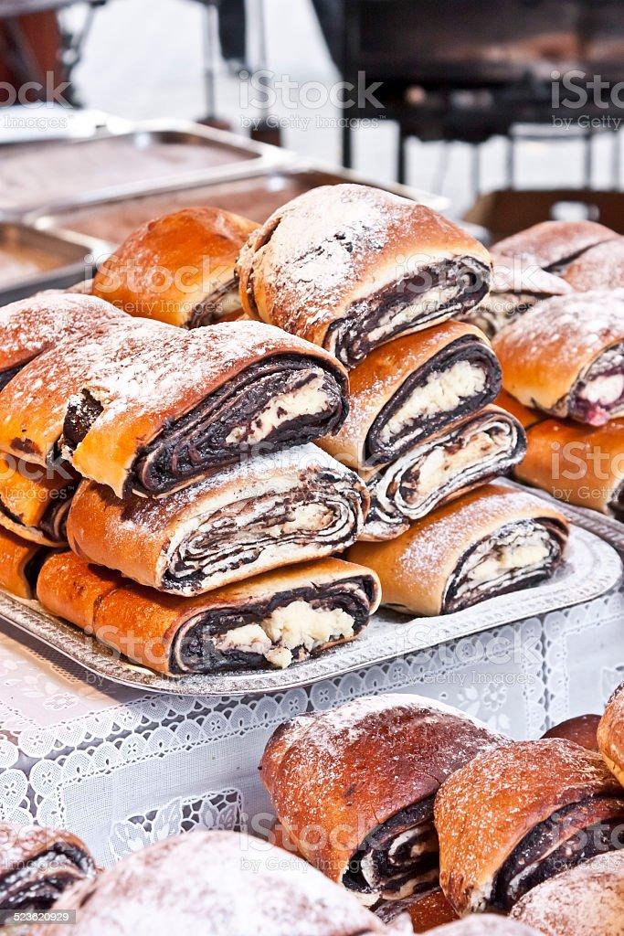 Bejgli - traditional hungarian christmas cake stock photo