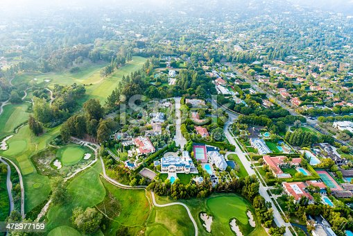 istock Bel Air Los Angeles neigborhood mansions and golf course, aerial 478977159