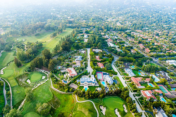 Bel Air Los Angeles neigborhood mansions and golf course, aerial stock photo