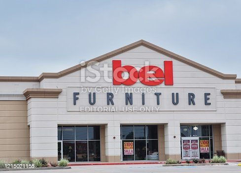 Houston, Texas/USA 03/25/2020: Bel Furniture store in Houston, TX. Texas based, they are a quality low priced furniture store chain for home and office, founded in 2002. Family owned business.