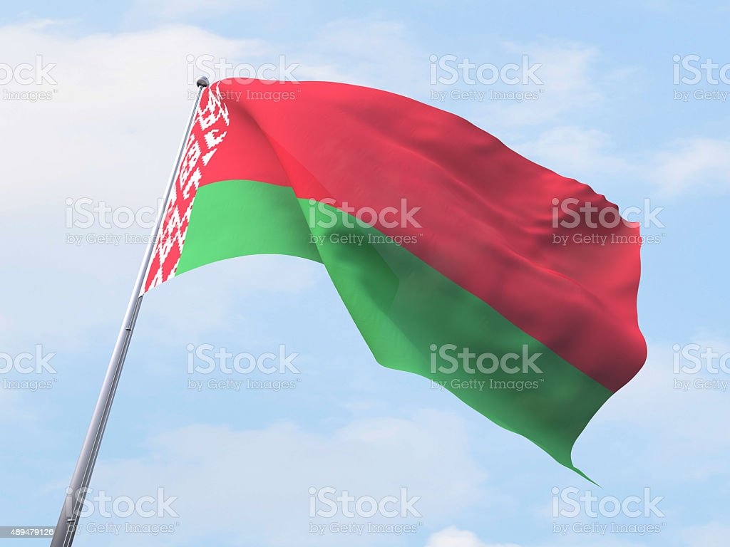 Belarus flag flying on clear sky. stock photo